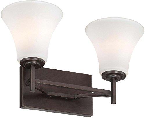 Minka Lavery Wall Light Fixtures 5932-284 Middlebrook Glass Bath Vanity Lighting, 2 Light, Vintage Bronze