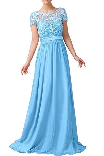 Braut Lang Blau Abendkleider A mit Royal La Ballkleider Partykleider Blau mia Rock Spitze Herrlich Dunkel Linie Kurzarm gXx50nv0wq