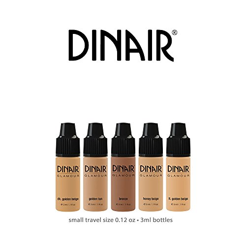 Mini Sample Size Bottles Set | Dinair Airbrush Makeup Foundation | Medium Shades | GLAMOUR: Natural, Light coverage, Matte