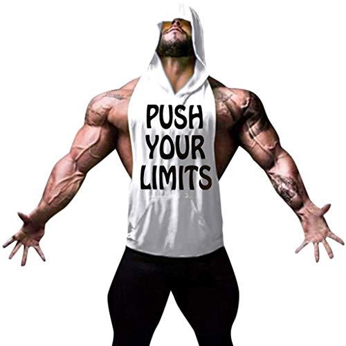 YKARITIANNA Men Fitness Muscle Print Sleeveless Bodybuilding Hooded Tank Vest Tops Blouses White (Whitetail Hawk)