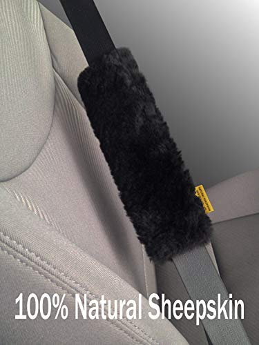 Skwoosh Authentic Sheepskin Car Seat Belt Cover Shoulder Seatbelt Pad for Adults Youth Kids Toddlers - Auto, Truck, SUV, Airplane Accessories - Genuine Natural Soft Merino Wool (Black)