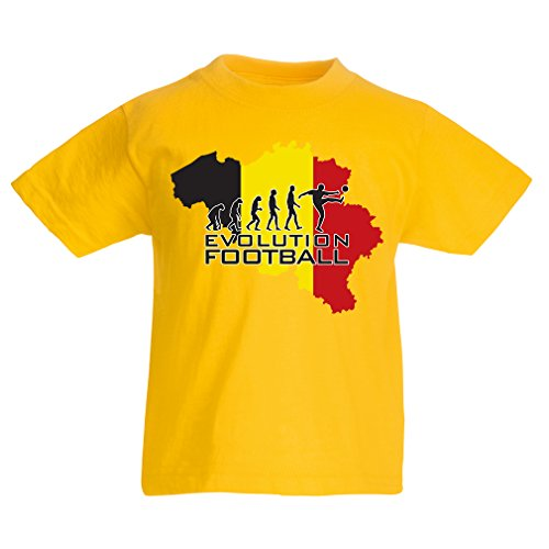 lepni.me T Shirts For Kids Evolution Football - Belgium, The Belgian Flag (14-15 Years Yellow Multi - Store Sydney Universal
