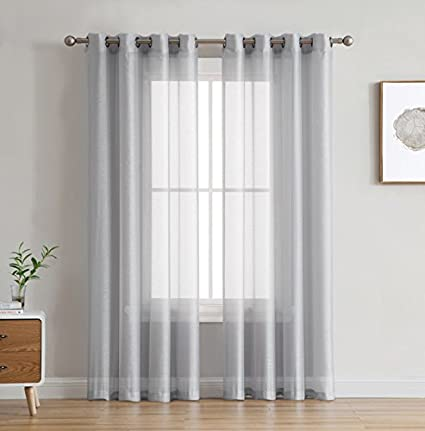 HLC.ME 2 Piece Semi Sheer Voile Drapery Window Curtain Grommet Panels for  Bedroom (54\