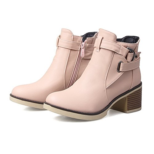 AgooLar Women's Round Closed Toe Low-Top Kitten Heels Solid PU Boots Pink hKuHXC