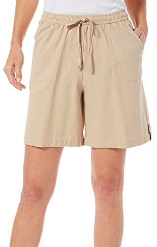 Cathy Daniels Womens Solid Drawstring Shorts X-Large Khaki Tan (Drawstring Tan)