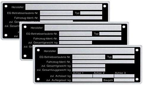 FKAnh/ängerteile 3 Placas de identificaci/ón en Blanco para remolques con Forma de Cartel Neutral versi/ón 8