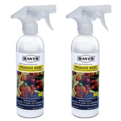 (Bayes High-Performance Natural Plant Based Produce Wash - Fruit and Vegetable Cleaner, Removes Harmful Residue - 16 oz, Pack of 2)