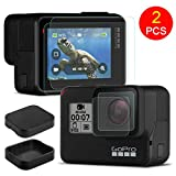 FINENIC Screen Protector for Gopro, Protective Cover Accessories for GoPro, Compatible for GoPro Hero 7(Black Only)/6/5, Screen Protector Film + Tempered Glass Lens Protection Film + Lens Cover Lens Cap Accessories, 2 Packs (Black + Black)