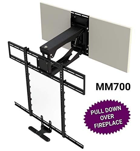"""MantelMount MM700 Pro Fireplace TV Mount Pull Down Bracket for 50""""-100"""" & 30-115 lb Televisions Above Mantel"""
