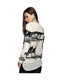 Tenworld Women's Fashion Long Sleeve Casual Horse Shirt Chiffon Blouse Sexy
