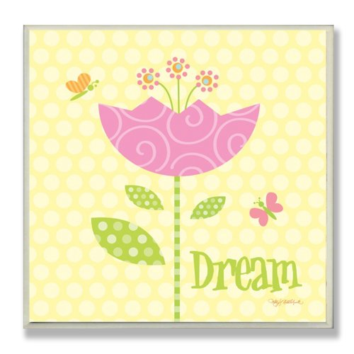 The Kids Room by Stupell Dream Pink Swirl Tulip Square Wall Plaque, 12 x 0.5 x 12, Proudly Made in USA
