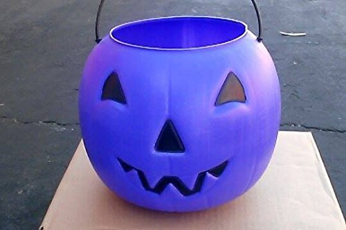 Halloween Pumpkin Jack O' Lantern Candy Bucket (Purple)]()