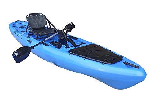 BKC PK13 13' Pedal Drive Fishing Kayak W/Rudder System and Instant Reverse, Paddle, Upright Back Support Aluminum Frame Seat, 1 Person Foot Operated Kayak
