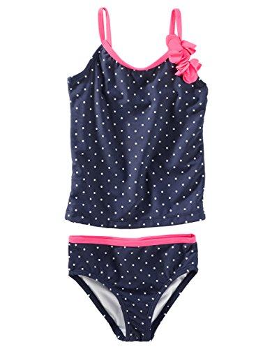 Osh Kosh Girls' Toddler 2-Piece Swim, Navy Dot, 4T