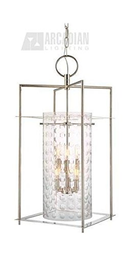 Polished Nickel Six Light Up Lighting Enclosed Foyer Pendant with Glass Cylinder Shade