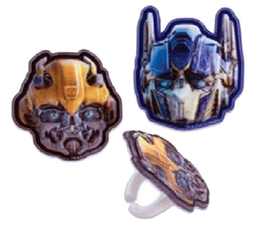 TRANSFORMERS MEGATRON & BUMBLEBEE (24) Party CUPCAKE Favor TOPPER RINGS