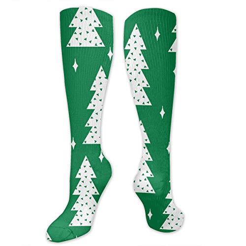 Big Tall Casual Sports Socks for Men Tree Kelly Green White Unisex Non Slip Boot Socks Long Stocking Women Training ()