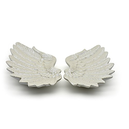 Exembe Angel Wings Trinket Tray Ceramic Home Decorative Jewelry Holder Set 2 Pearl White Plates by Exembe