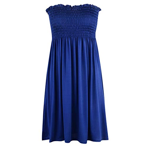 KCatsy Solid Color Strapless Dress with Ruffled Hem for Women Deep Blue]()