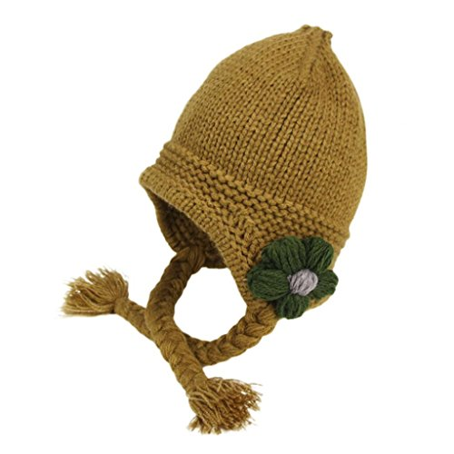 Big Headed Baby Costume (FarJing Baby Boys Girls Knitted Cap Warm Floral Hats (Coffee))
