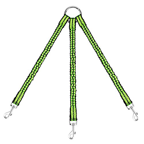 OxyPlay [Night Version] Heavy Duty Sturdy Stretchable Bungee 3 Way Nylon Tangle Free Dog Pet Coupler Leash Reflective, Adjustable No Pull Elastic 3/Three Way Dog Trainnig Coupler Leash Green by OxyPlay