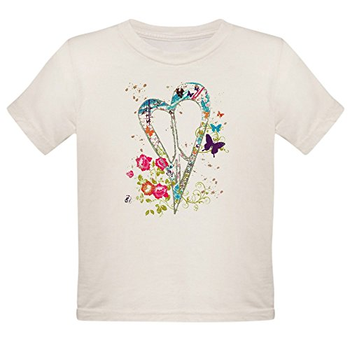 - Royal Lion Organic Toddler T-Shirt Flowered Butterfly Heart Peace Symbol - 4T