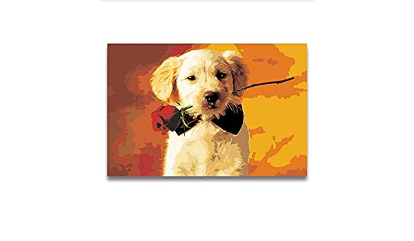 Pintura Digital Por Números Animal De Dibujos Animados Perro Lindo ...