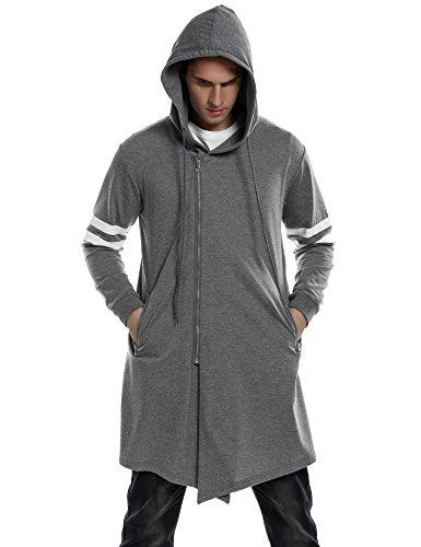 Coofandy+Men%27s+Fashion+Long+Hooded+Outwear+Hoody+Sweatshirt+Teenager+Hoodies%2CDark+Gray%2CXX-Large