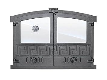 Puerta Del Horno para pizza Horno Puerta Madera del Horno Puerta Horno de piedra hierro fundido con horno Parabrisas y Thermomete Barbacoa 600 x 430: ...