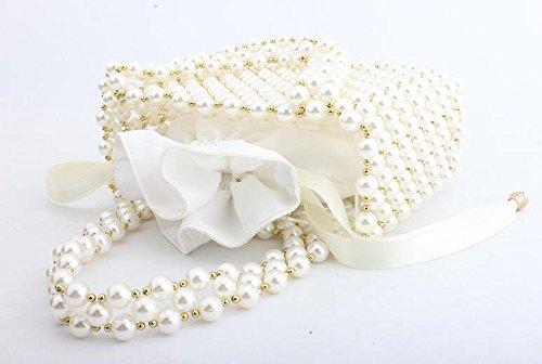 Perle banquet main clubs sac sac sac de perlé main pour soirée dames mariage les de pochette à sac White partie fait de SqF0qx4wr