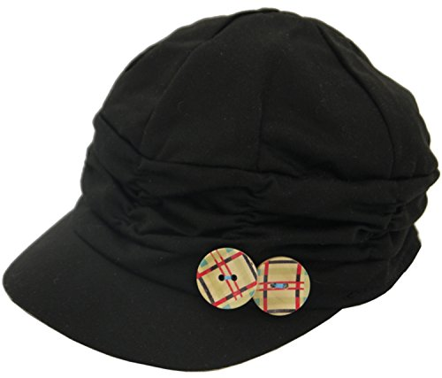"Toki-Meki Princess Girl Fashion Army Cap Elastic Back (21-22"") w/Wood Button Charm Black & Deco by Toki-Meki Princess"