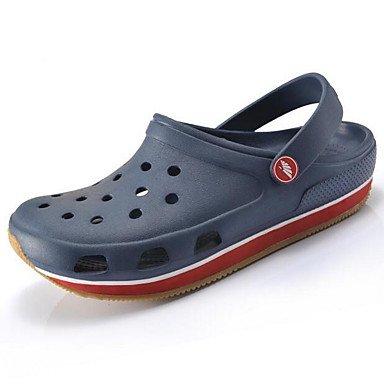 Los hombres sandalias de goma zapatos agujero de verano casual,caqui Blue