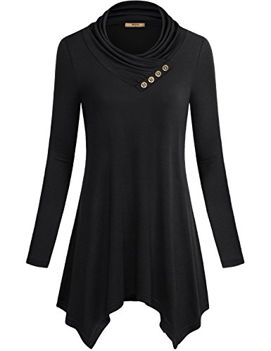 Asymmetrical Top,Cestyle Womens Clothing Tops Long Sleeve Cowl Neck Casual Juniors Sweatshirt Sweater Tunic Dress Black Small