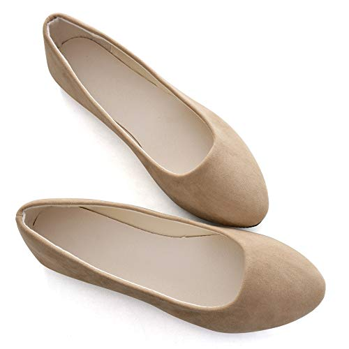 Stunner Women Cute Slip-On Ballet Shoes Soft Solid Classic Pointed Toe Flats by Khaki -