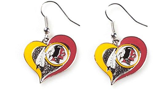 (NFL Washington Redskins Swirl Heart Earrings)
