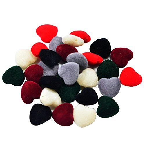MonkeyJack 30 Pieces Fashion Acrylic Flocking Covered Velvet Heart Beads For DIY Necklace Earring Bracelet Jewelry Making Accessories