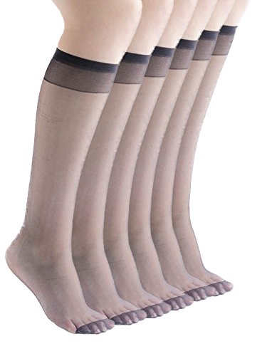 Felicity Womens Sheer Trouser Socks, Knee High Socks, Comfort Top (6pack-Ultra Sheer 15 Denier-Shiny