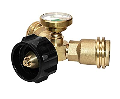DOZYANT Y-Splitter Tee Adapter Connector with Propane Tank Gauge Level Indicator Leak Detector Gas Pressure Meter, 100% Solid Brass with 1 Female 2 Male QCC, Gray