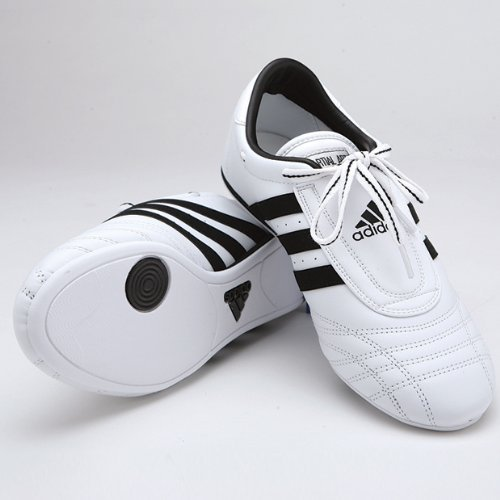 Adidas Low Cut Sneakers, White with Black Stripes, 6.5 by adidas