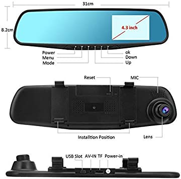 Rear View Camera Kits HD 1080P Dual Lens Car Auto DVR Mirror Dash Cam Recorder
