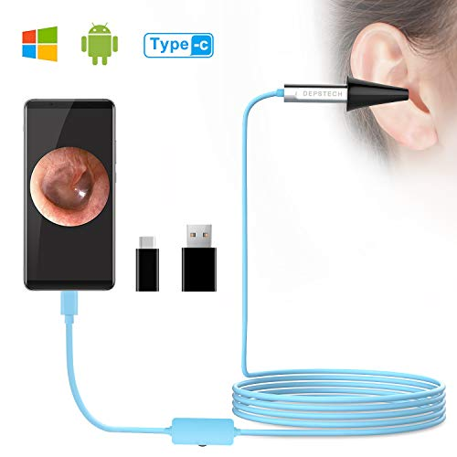 Depstech USB Otoscope, Digital Ear Scope Ear Inspection Camera Earwax Cleansing Tool with 6 LED Lights for Micro USB & USB-C Android Devices, Windows & MAC PC Computer by Depstech