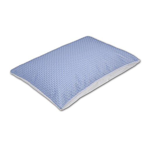 Fashion Bed Group Sleep Chill + Crystal Gel Pillow Protector with Cooling Fibers and Blue 3-D Fabric, Standard / Queen