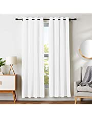 "AmazonBasics Room Darkening Blackout Window Curtains with Grommets - 42"" x 84"", White, 2 Panels"