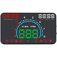 Portta Head Up Display 5.8 ABS PC HUD with Water Temperature Overspeed RPM Low Voltage Alarm Fault Detection Clearance Fatigue Driving Gear Shifting Warning