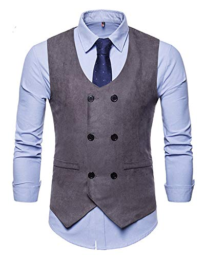 Breasted Double Coat Suede - JOLIFEI Mens Double Breasted Vintage Soft Suede Waistcoat Business Casual Suit Vest Gilet Grey S