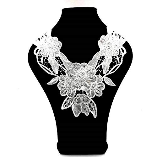Fashion White Embroidery Round Neckline Lace Fabrics Collar for Embroidered Sewing Supplies DIY Crafts Sew-on Clothes (Style 3)
