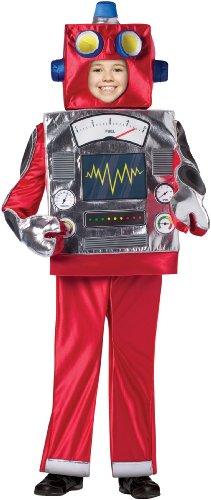 [Retro Robot Child Costume, 7-10, Red] (Boy Robot Costume)