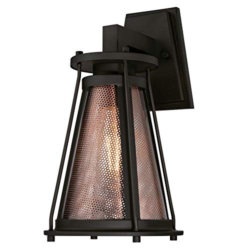 (Westinghouse Lighting 6335424 Beatrix One-Light, Oil Rubbed Bronze Finish with Clear Glass and Washed Copper Mesh Outdoor Wall Fixture,)