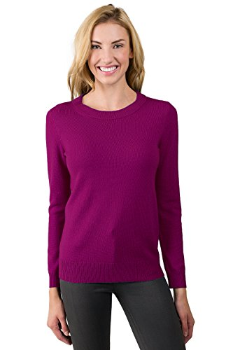 JENNIE LIU Women's 100% Pure Cashmere Long Sleeve Crew Neck Sweater (L, Berry)