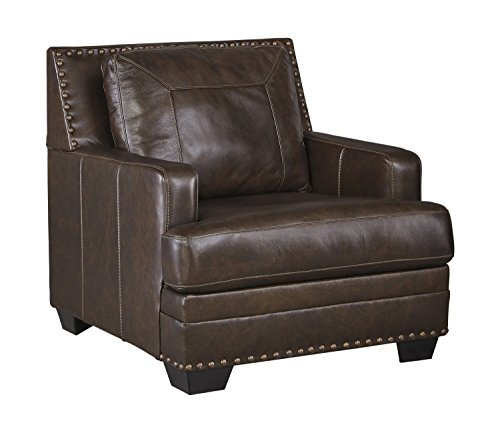 Ashley Furniture Signature Design - Corvan Accent Chair - Contemporary - Antique Brown with Nailhead Accents (Toronto Console Tables)